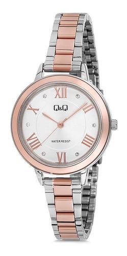 Reloj Q&q Qb89j407y Lujoso Para Dama Plateado/ Oro Rosa