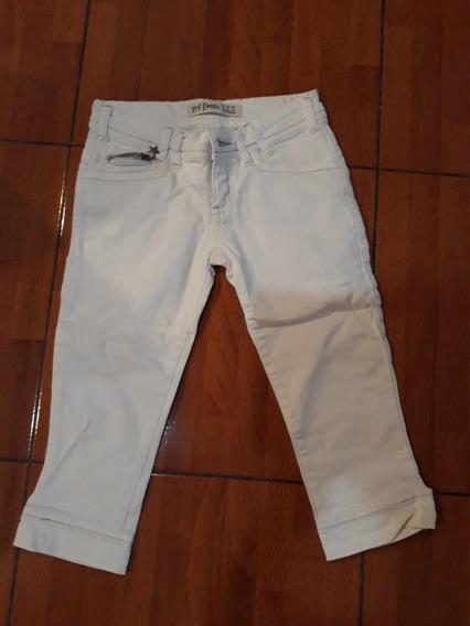 Pantalon Corto Hasta Rodilla Blanco Mujer Talle 34
