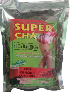 Kit 40 Super Chá Seca Barriga,c\ Hibisco E Goji Berry 100gr