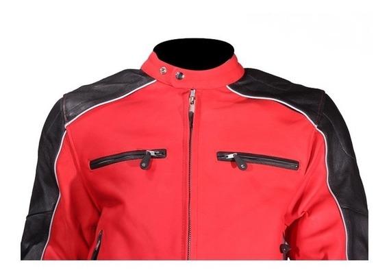 Chaqueta Motorizado 100% Cuero Black Orange Leather Jacket