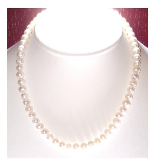 Collar Perlas Cultivadas Naturales Con Broche De Oro A027