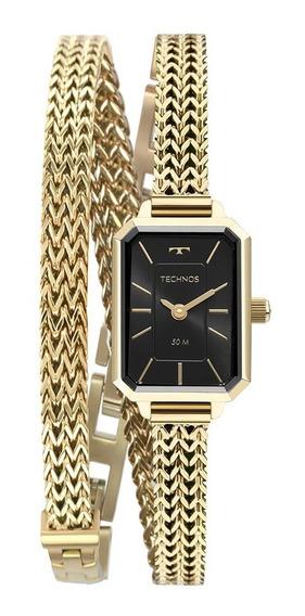 Relógio Technos Feminino 5y20ix/1p Quadrado Dourado Pequeno