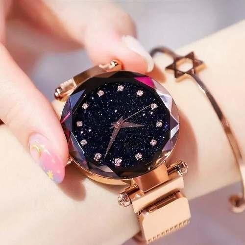 Relógio Feminino Fecho Magnético 3d Estrelado + Bracelete