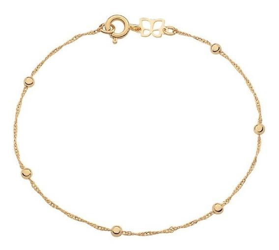 Tornozeleira Rommanel Banhado Ouro Cingapura Bolinhas 551204