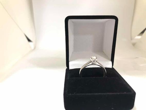 Anillo Compromiso Diamante 20pts Oro Blanco 14k