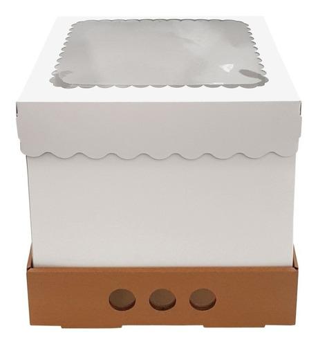 Imagen 1 de 2 de Caja Para Tortas Altas 25x25x25 Tapa Con Visor X10u