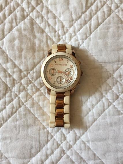 Relógio Michael Kors Branco Com Dourado Rosé