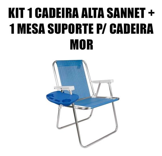 Kit 1 Cadeira Alta Praia Sannet Alumínio + Mesa Portátil