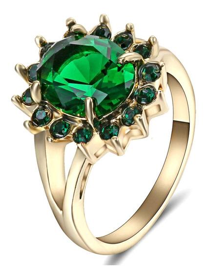 Anel Feminino Flor Sol Pedra Cristal Esmeralda Verde Beleza Natural Cor Esperança Mulher Presente Dia Evento 618