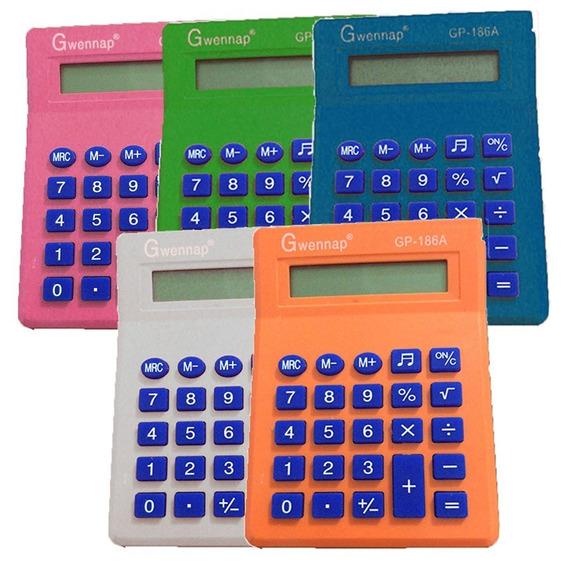 Mini Calculadora De Bolso Gwennap C/ Visor 8 Dígitos Cores
