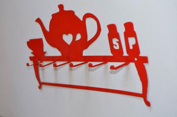 Porta Tazas, Vajilla, Repasadores, Con Diseño En Metal