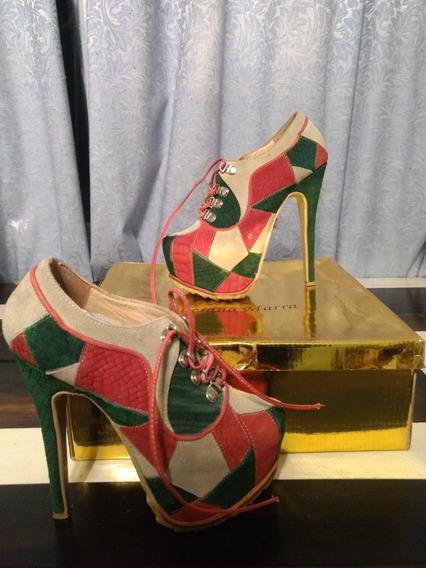Zapatos Tipo Botinetas Patchwork De Cuero
