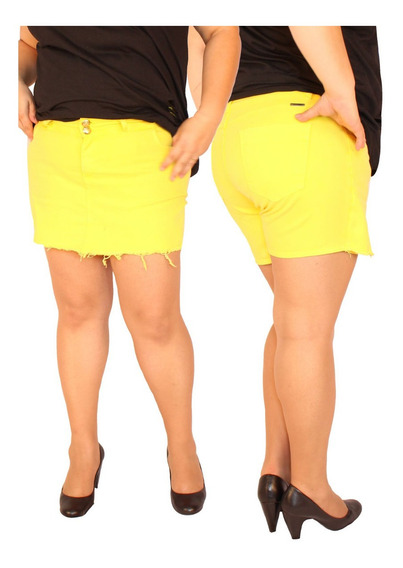 Shorts Saia Em Sarja Com Elastano Plus Size Do 46 Ao 58