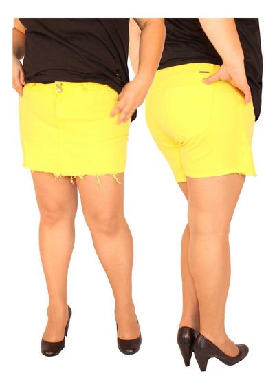 Shorts Saia Em Sarja Com Elastano Plus Size Do 46 Ao 58