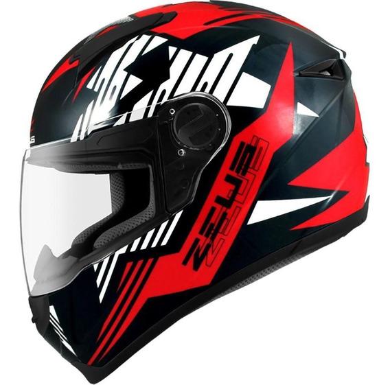 Capacete Zeus 811 Solid Black Al28 Red