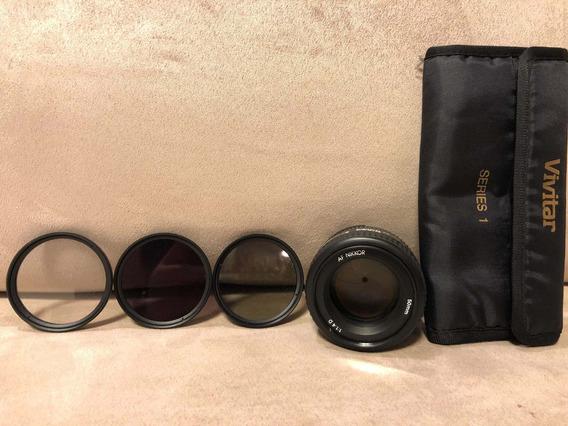 Lente Nikkor 50mm 1.4 Com Kit De Filtros