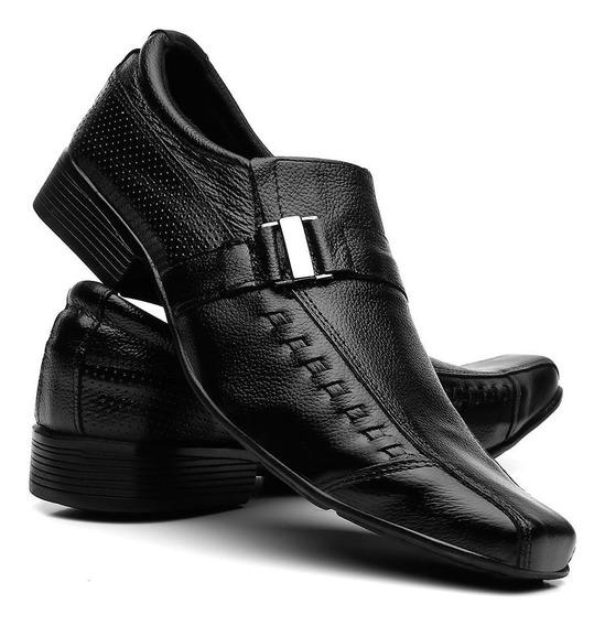 Sapato Social Masculino Couro Bico Fino Evangélico Conforto