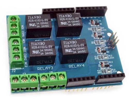 Modulo Shield De 4 Salidas De Rele 5v 3a Para Arduino Uno