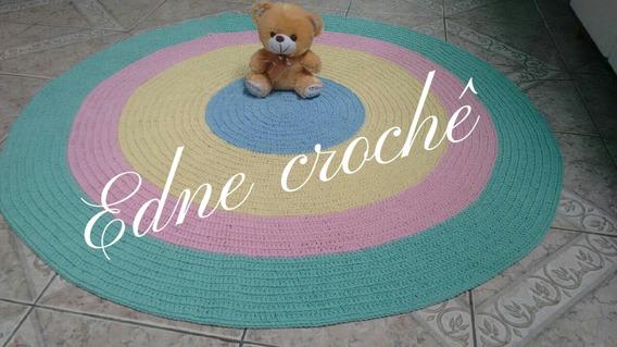 Lindo Tapete Infantil Redondo Em Crochê Com 1,20 Diâmetro