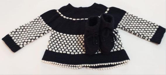 Casaco E Sapato Rn Em Tricot Na Cor Azul Marinho /branco