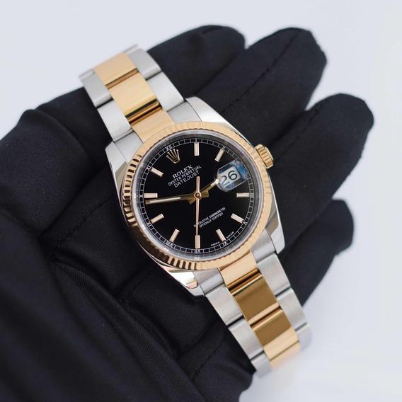 Rolex Datejust 36 Aço E Ouro 18k Mostrador Preto C/ Bezel De Ouro 18k I Relógio Feminino Original