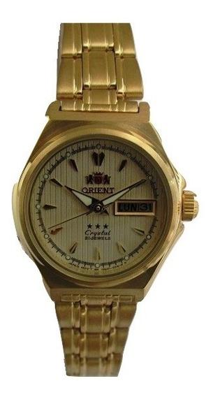 Relógio Orient Automático Feminino Folhado A Ouro Fnq1s002c9