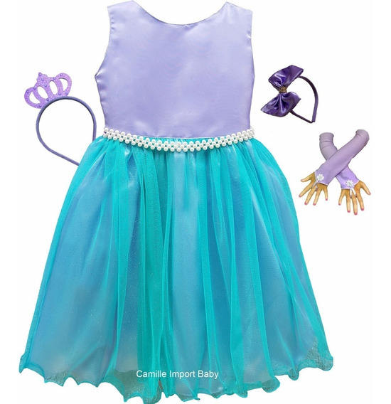 Vestido Ariel Pequena Sereia Luxo E Tiaras E Luvas Promoção