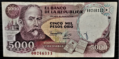 Billete 5000 Pesos Oro 31/ene/1992 Colombia F-vf Reposicion