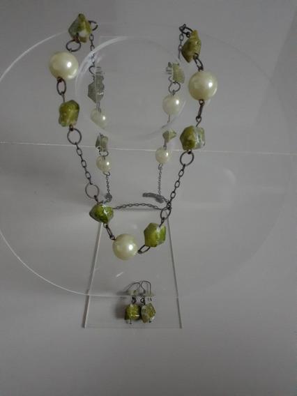 Conjunto Colar/brincos Pérolas E Pedras Verde