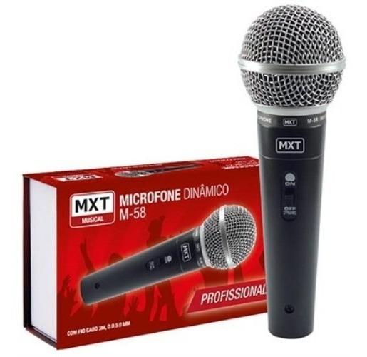 Microfone Dinâmico M58 Profissional Com Fio Cabo 3 Metros