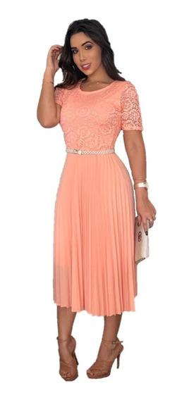 Vestido Modesto Midi Princesa Plissado Renda Moda Evangélica