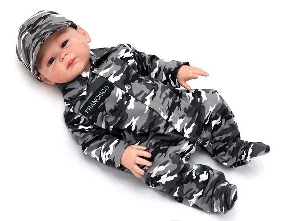 Roupa De Bebe Menino Macacão Personalizado Camuflado