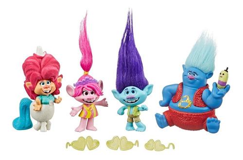 Imagen 1 de 2 de Set 4 Figuras Trolls 2 Gira Mundial Poppy Juguete Hasbro