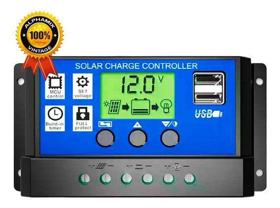 Controlador De Carga Painel Solar 30a 12v/24v Pwm
