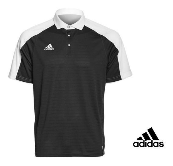 adidas Playera Polo Negro Con Blanco