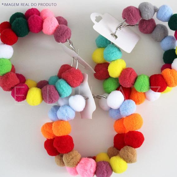 Brinco Pompom Colorido Moda Blogueiras- Carnaval
