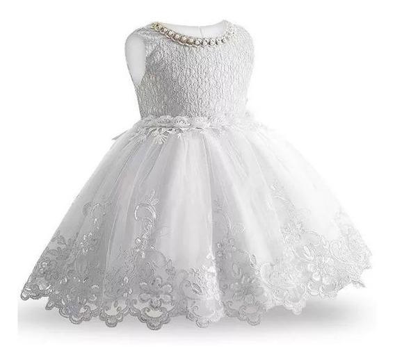 Vestido Infantil Batizado Bebe Festa Casamento Daminha Renda Bordado Florista Batismo