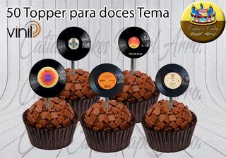 50 Topper Para Doces Rock Lp E Compacto Vinil Modelos