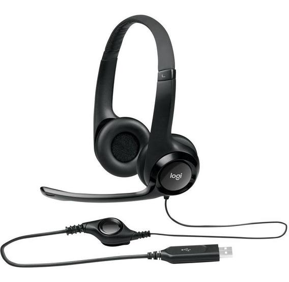Headset Logitech Audio Digital Em Couro Usb H390 - Preto