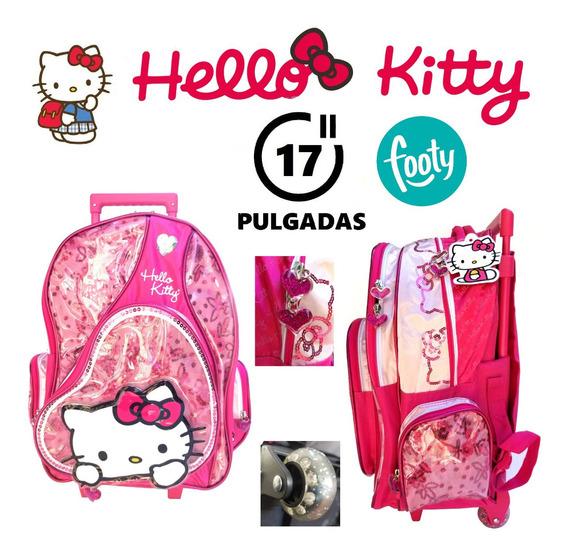 Mochila Hello Kitty 17 Pulgadas Con Carrito Original Footy !
