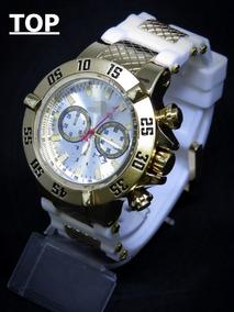Relógio Ouro Dourado Aço Branco Grande Pesado + Caixa C148