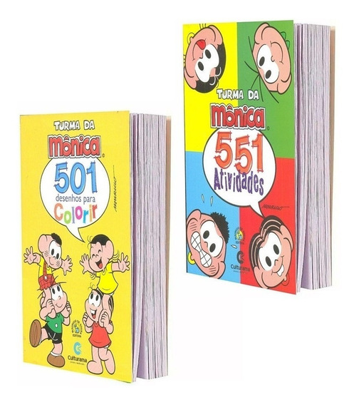 Kit 2 Livros Turma Da Mônica 551 Atividades E 501 Desenhos