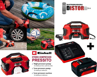 Mini Compresor Portatil Einhell Bat 18v220v Hibrido +kit 3 A