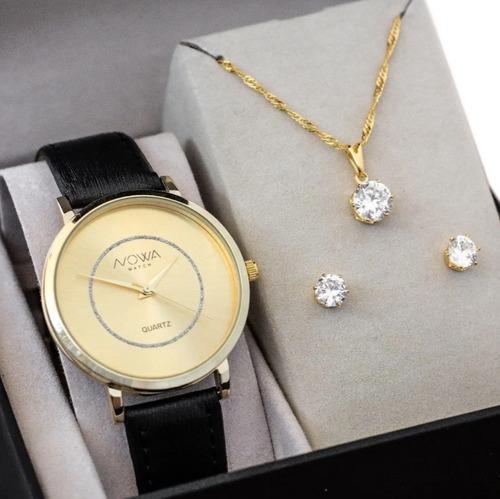 Imagem 1 de 5 de Relógio Nowa Dourado Couro Feminino Nw1411k Com Kit Brinde