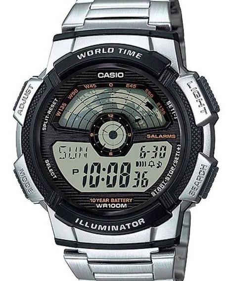 Relógio Casio Masculino Wold Mapa Digital Prata