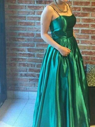 Vestido Largo Para Fiesta O Graduacion, Seda Verde Brillosa