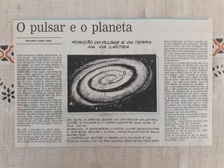 Recorte Jornal Matéria O Pulsar Planeta Estrela Psr 1829 10