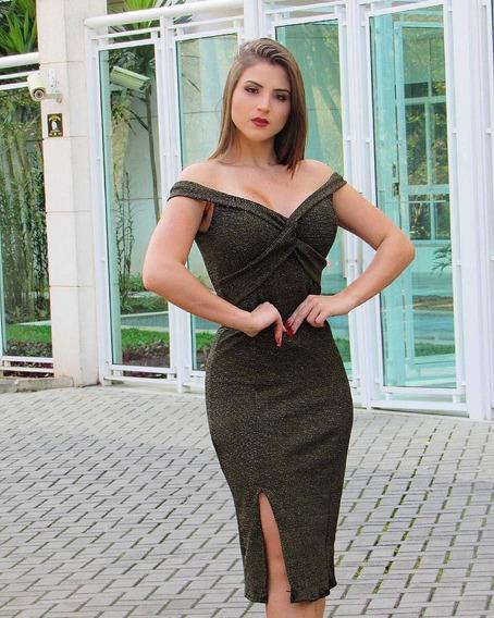 Vestido Midi Lurex Decote X Com Bojo Lançamento 2019