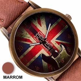 Relógio Vintage Bandeira Inglaterra Pulseira Tecido Marrom
