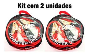 Kit 2 Cabo Chupeta 500 Amper P/ Partida Carro Moto Bateria